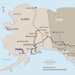 Alaska Map - Alaska has a commendable tradition of hard rock mining and broad public support for resource development. There are currently four operating mines and four late stage development projects in the state.